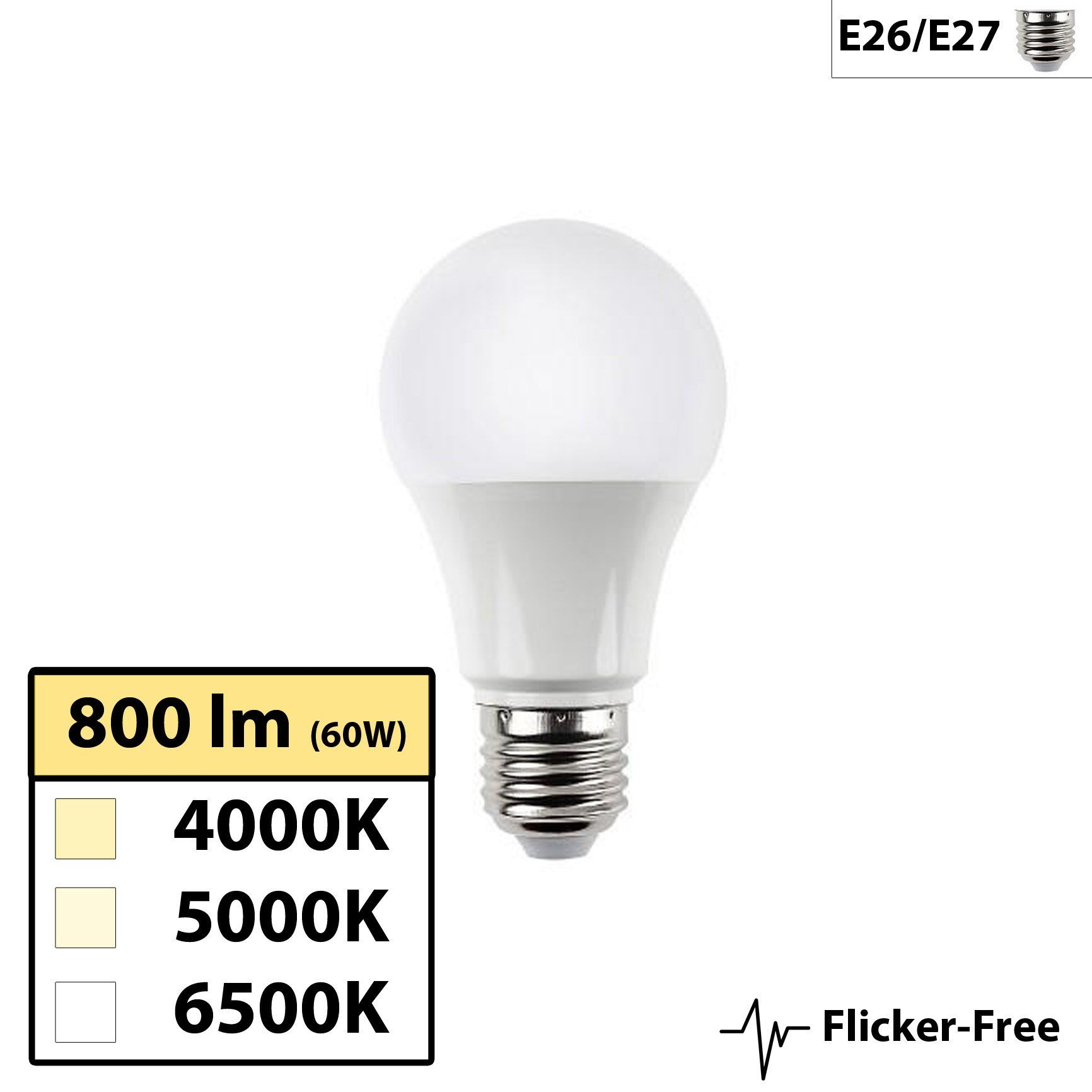 Centric Daylight Full Spectrum Flicker Free A19 10w Led Bulb