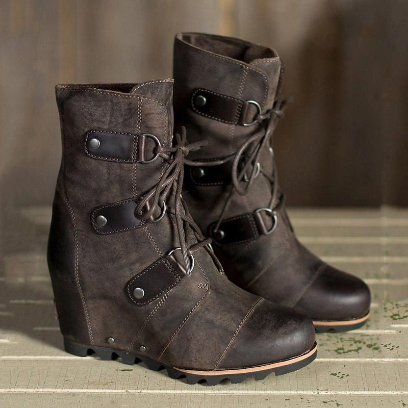 690f984e48cf Hidden Elevator Heel Plain Round Toe Lace-Up Front Casual Vintage Women  Boots