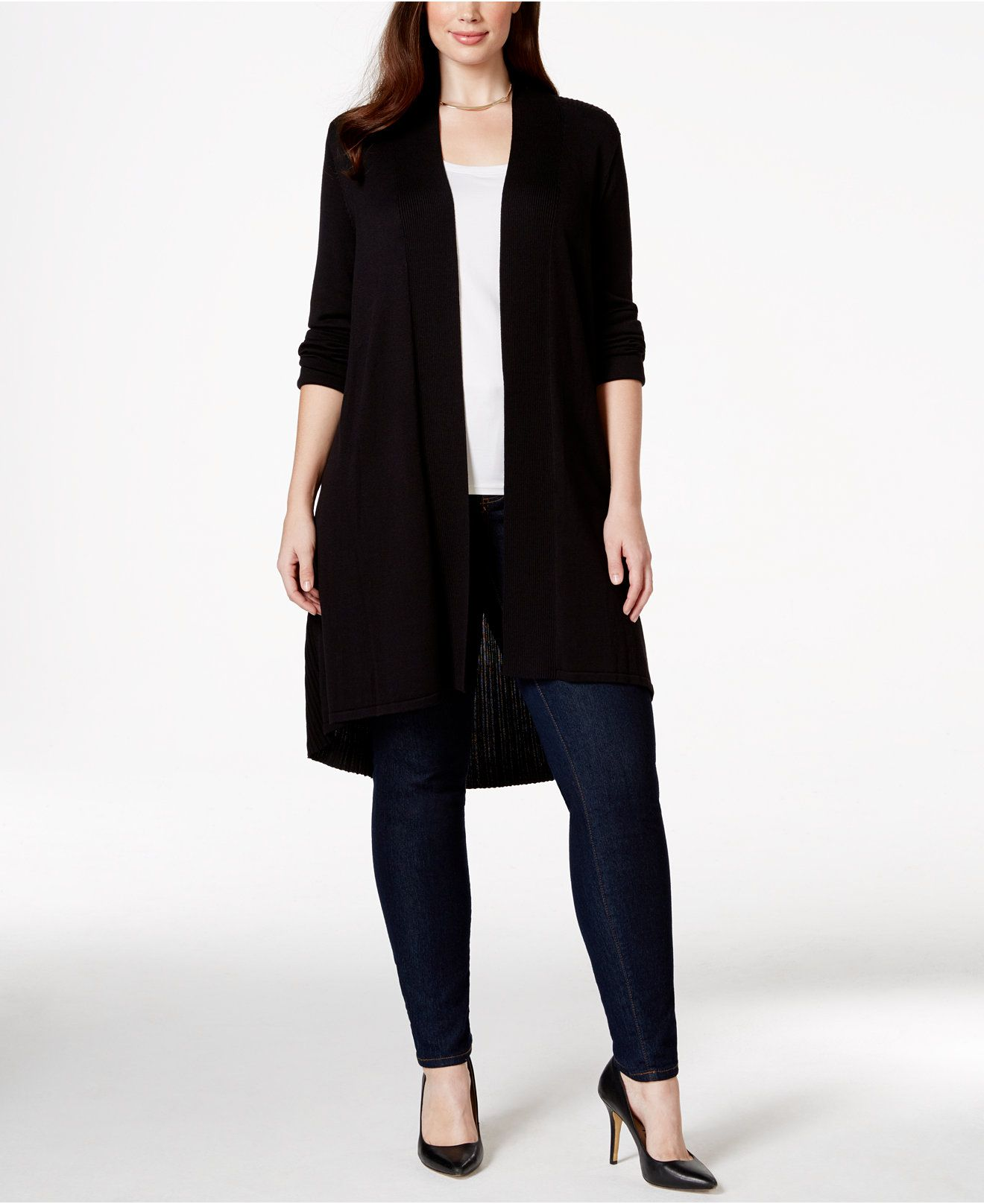 Alfani Plus Size Long Duster Cardigan, Only at Macy's - Sweaters ...