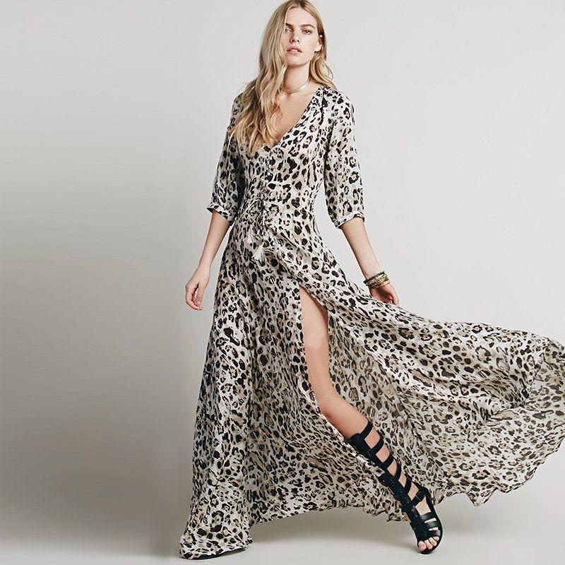 594619b6fdf Summer Style 2015 Women Dress V-neck Chiffon Long Dress Split Leopard Print Maxi  Dress
