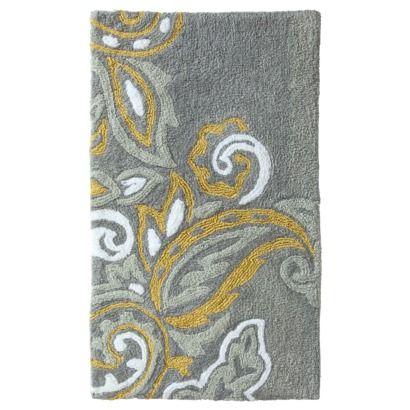 Threshold Textured Paisley Bath Rug Sleek Gray 20x34 With