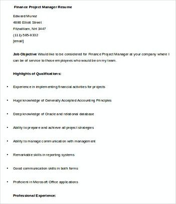 Financial Project Manager resume template , Finance Manager Resume - finance resume examples
