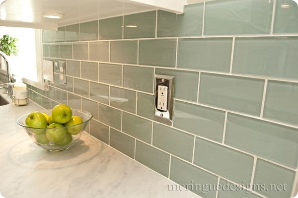 White Marble Counter W Green Subway