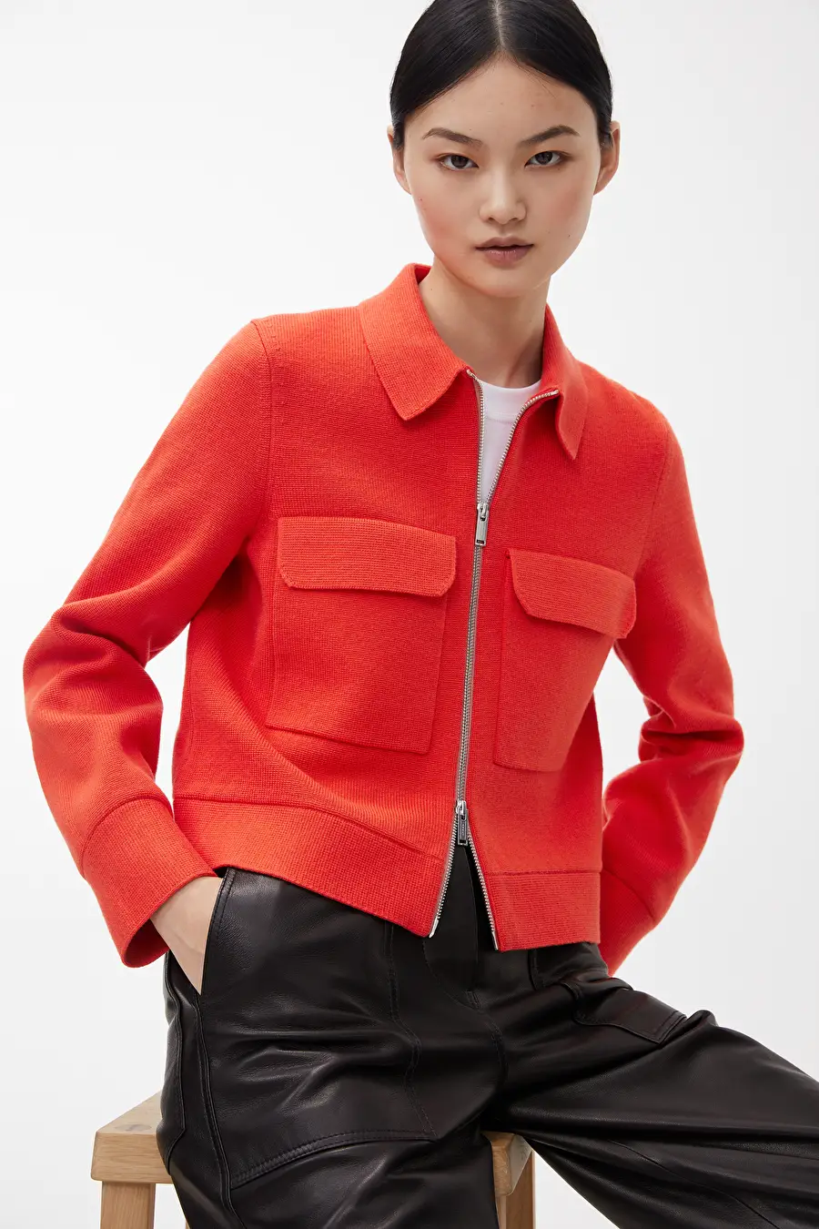 Merino Cotton Box Jacket Red Knitwear Arket Be Jackets Arket Cotton Box