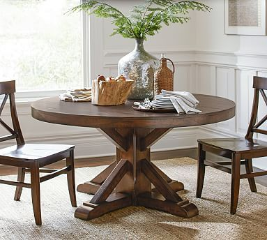 Benchwright Fixed Round Pedestal, Rustic Mahogany stain | Pedestal ...