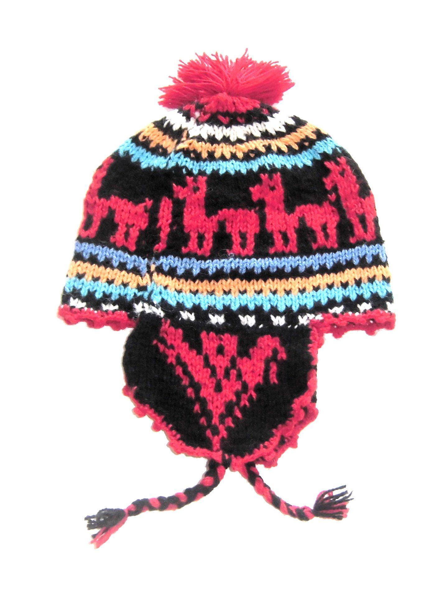 60b87947b8a74 Alpacaandmore peruanische traditionell gestrickte Chullo Alpakawolle Muetze  Rot  Amazon.de  Bekleidung
