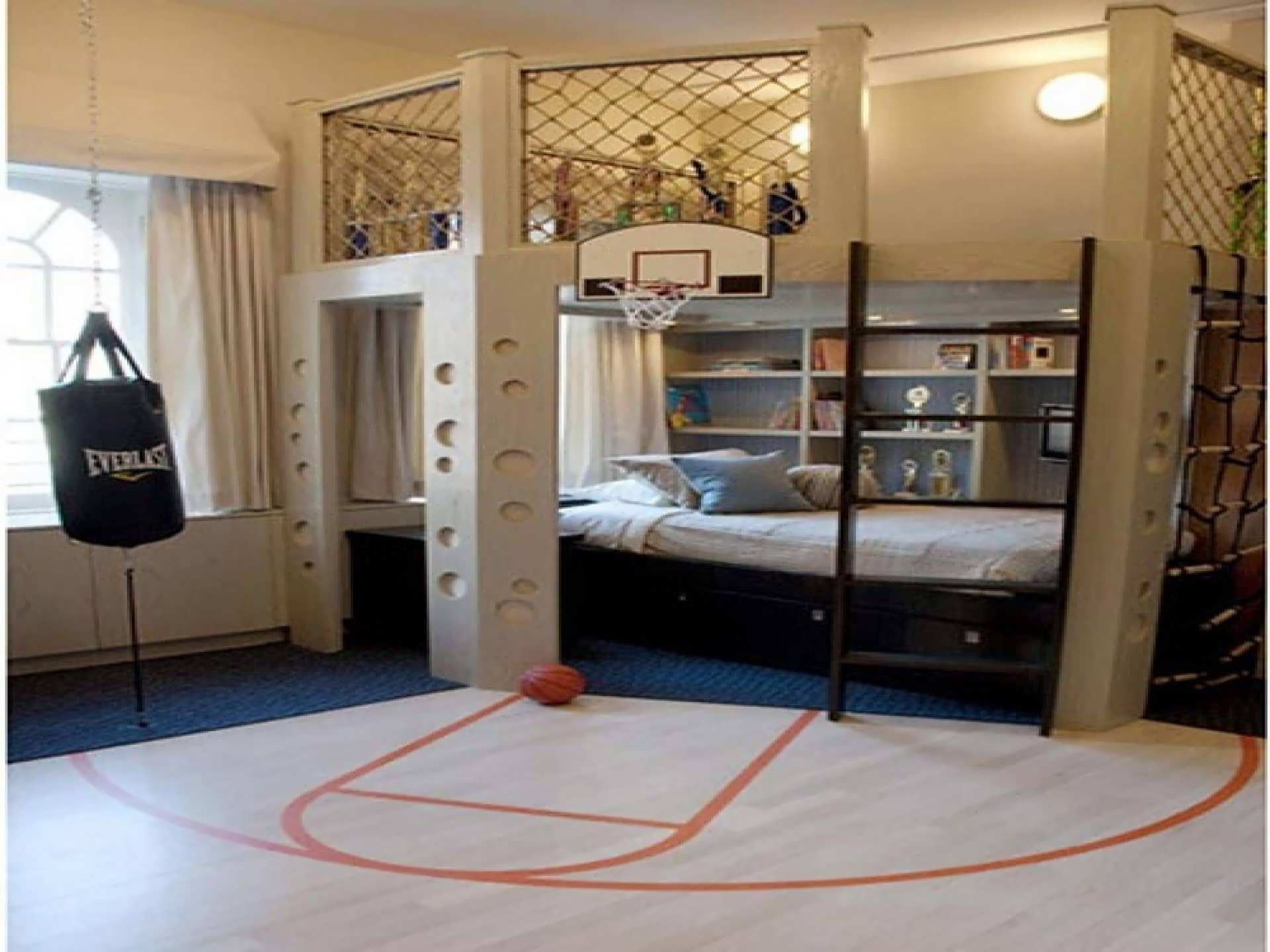 Basket Ball Theme Bed Room For Boys With Brown Wooden Bunk Using Storage Drawer Also Biik Shelves On Cream Painted Wall Cool Bedroom