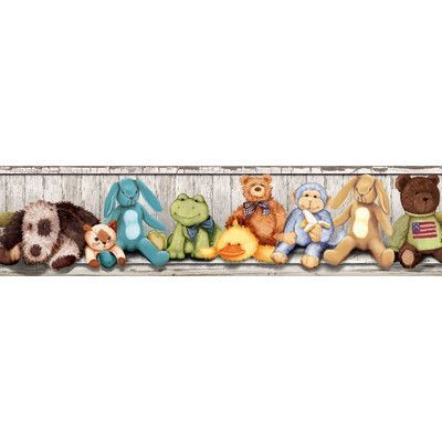 "Room Mates Studio Designs Cuddle Buddies Peel and Stick 15' x 5"" Wildlife Border Wallpaper"