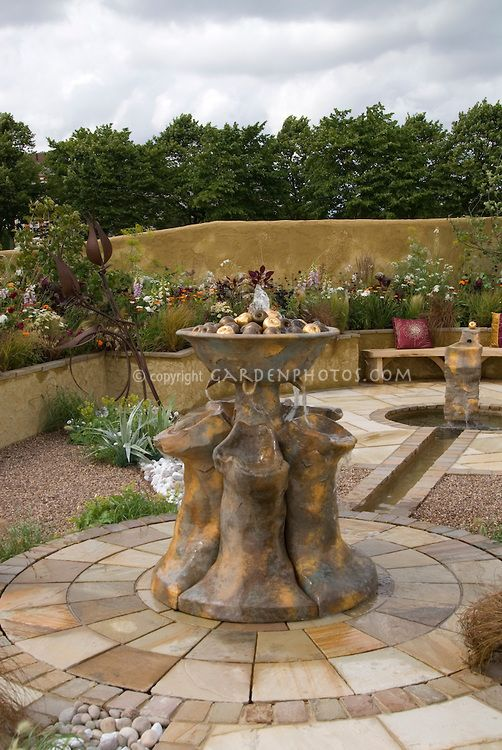 Beau Patio With Different Types Of Pavers, Water Fountain Feature, Garden Wall,  Stone
