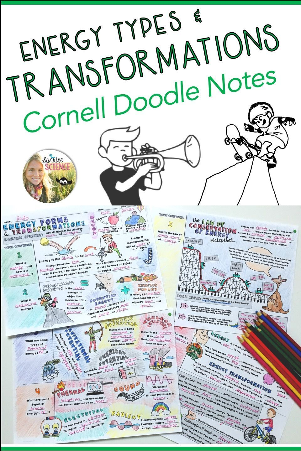 Types Of Energy And Transformations Cornell Doodle Notes In 2020 Doodle Notes Kinetic And Potential Energy Science Teaching Resources