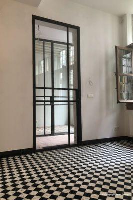 Renovation steel door with glass