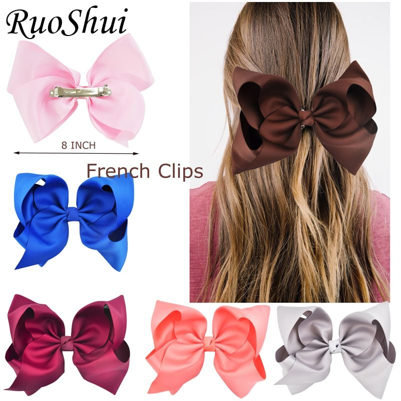 8 Inch Large Girls Hair Bows Grosgrain Ribbon Knot Large With Clip