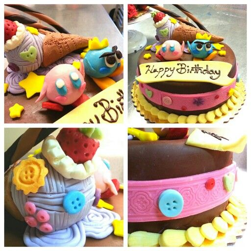 Kirby birthday cake made out of modeling chocolate and