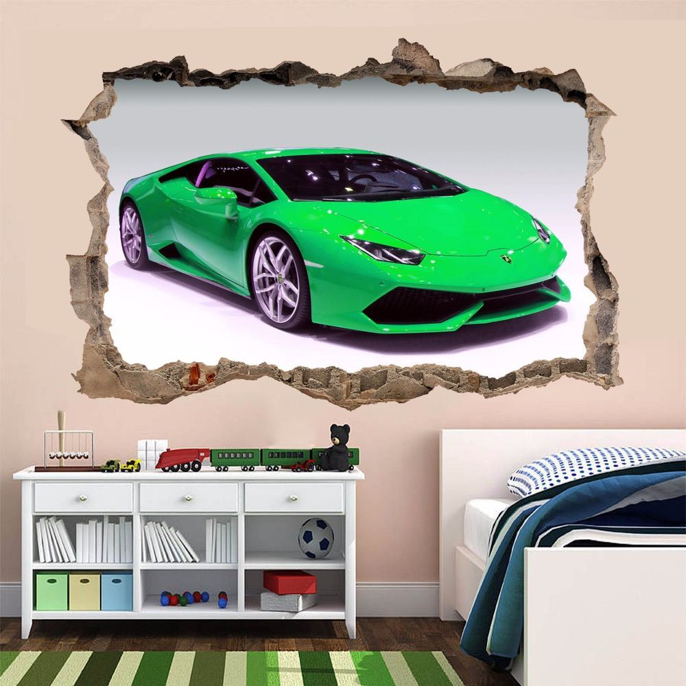 Details About Supercar Green Sports Car Wall Sticker Mural Decal