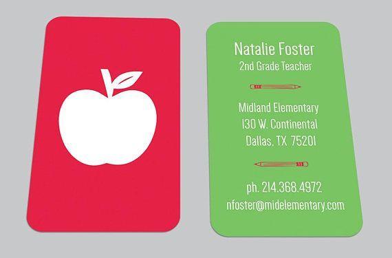 Digital Download Modern Apple Custom Business Card Teacher Bestbusinesscards Cool Business Cards Custom Business Cards Business Card Maker