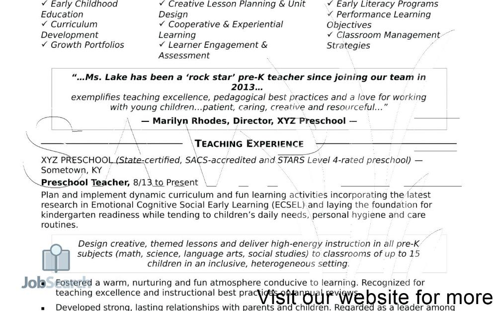 Preschool Teacher Resume Samples Free 2020 In 2020 Teacher Resume Teacher Resume Examples Preschool Teacher Resume