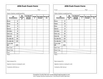 picture regarding Printable Cash Count Sheet identified as ASB Hard cash Depend Style Training Printables Revenue box