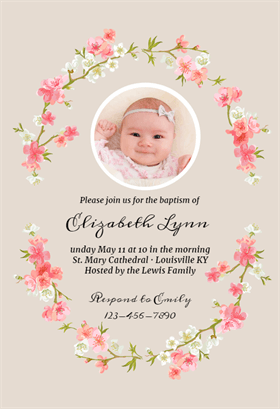 photograph about Free Printable Baptism Invitation Template named Floral Youngster - Baptism Christening Invitation Template