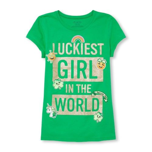c36647c6 Girls St. Paddy's Day Short Sleeve Glitter 'Luckiest Girl In The World' Graphic  Tee