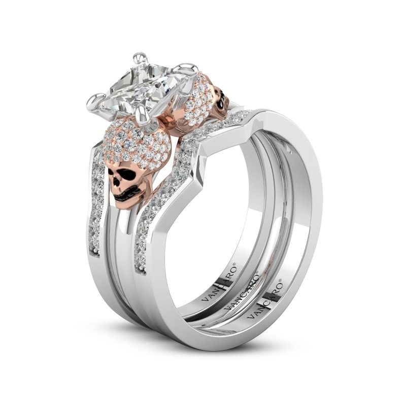 Rose Gold Plated Skull Wedding Rings In Sterling Silver For Women