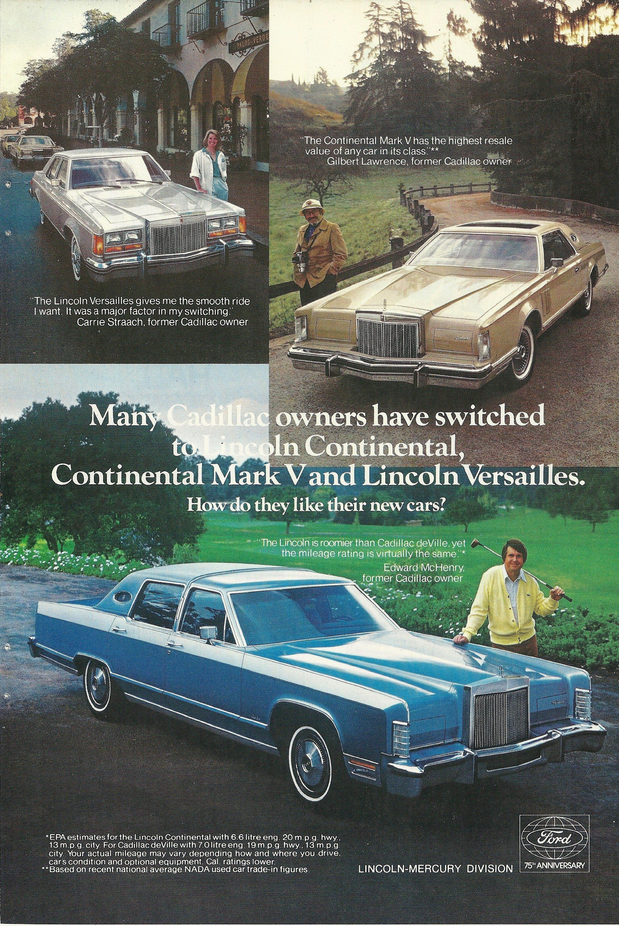 1978 Lincoln Continental, Mark 5, Versailles Vintage Print Ad ...