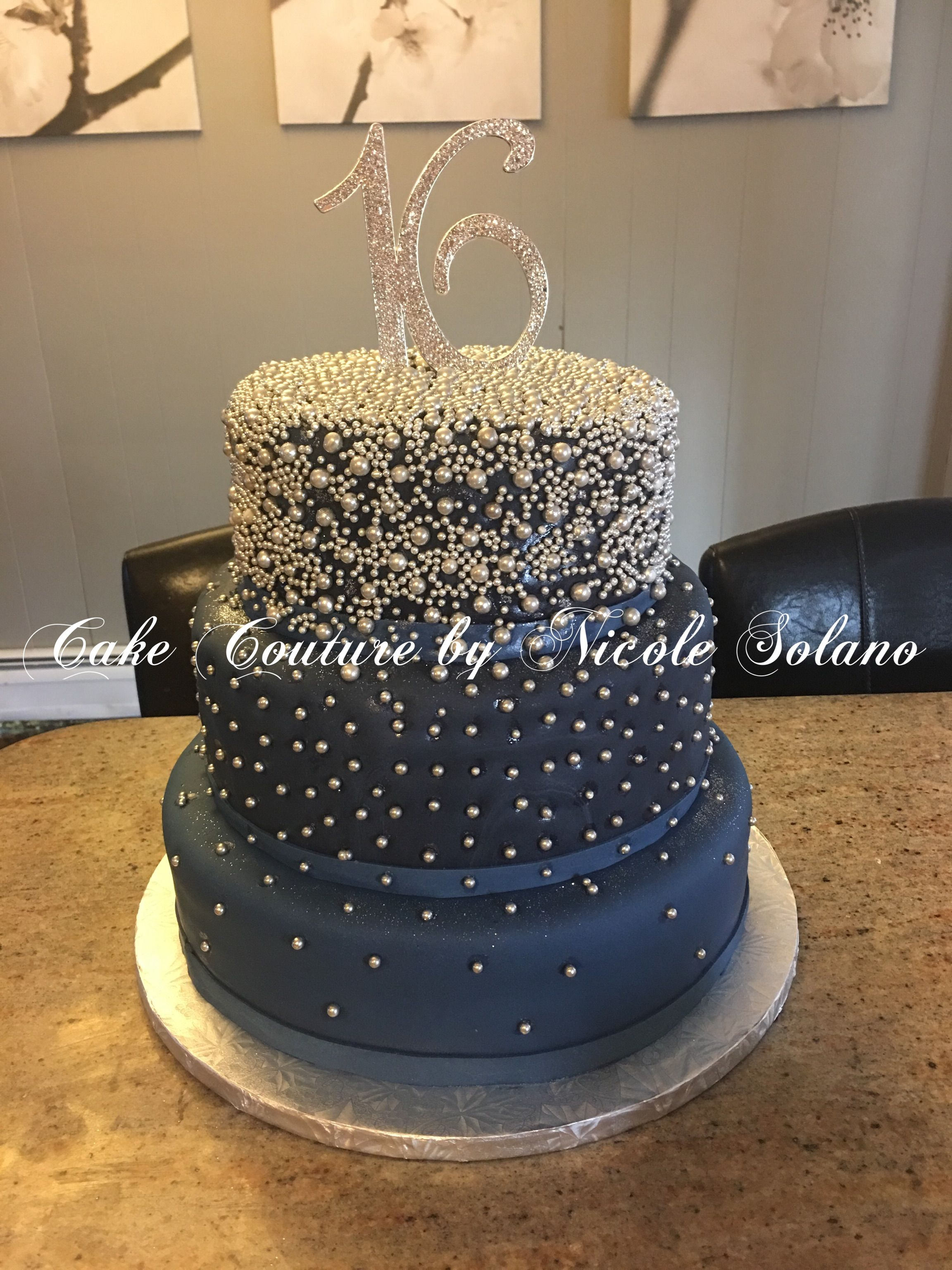 Sweet 16 Navy Blue And Silver Cake