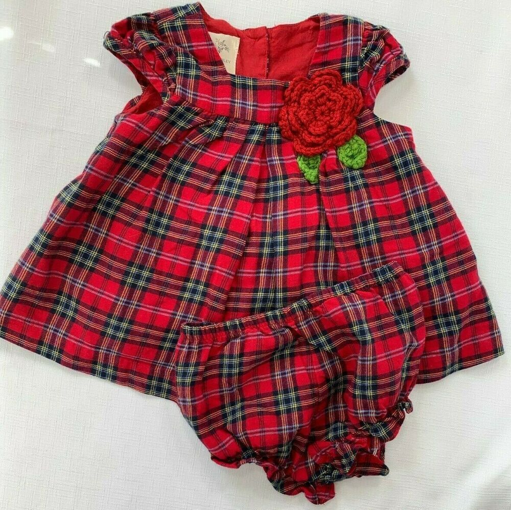 Laura Ashley Baby Girls 3-6 Months Red Plaid Flannel Holiday Crochet Rose Dress  #LauraAshley #FlannelDress #HolidayOutfit #ChristmasDress #RedPlaidFlannel