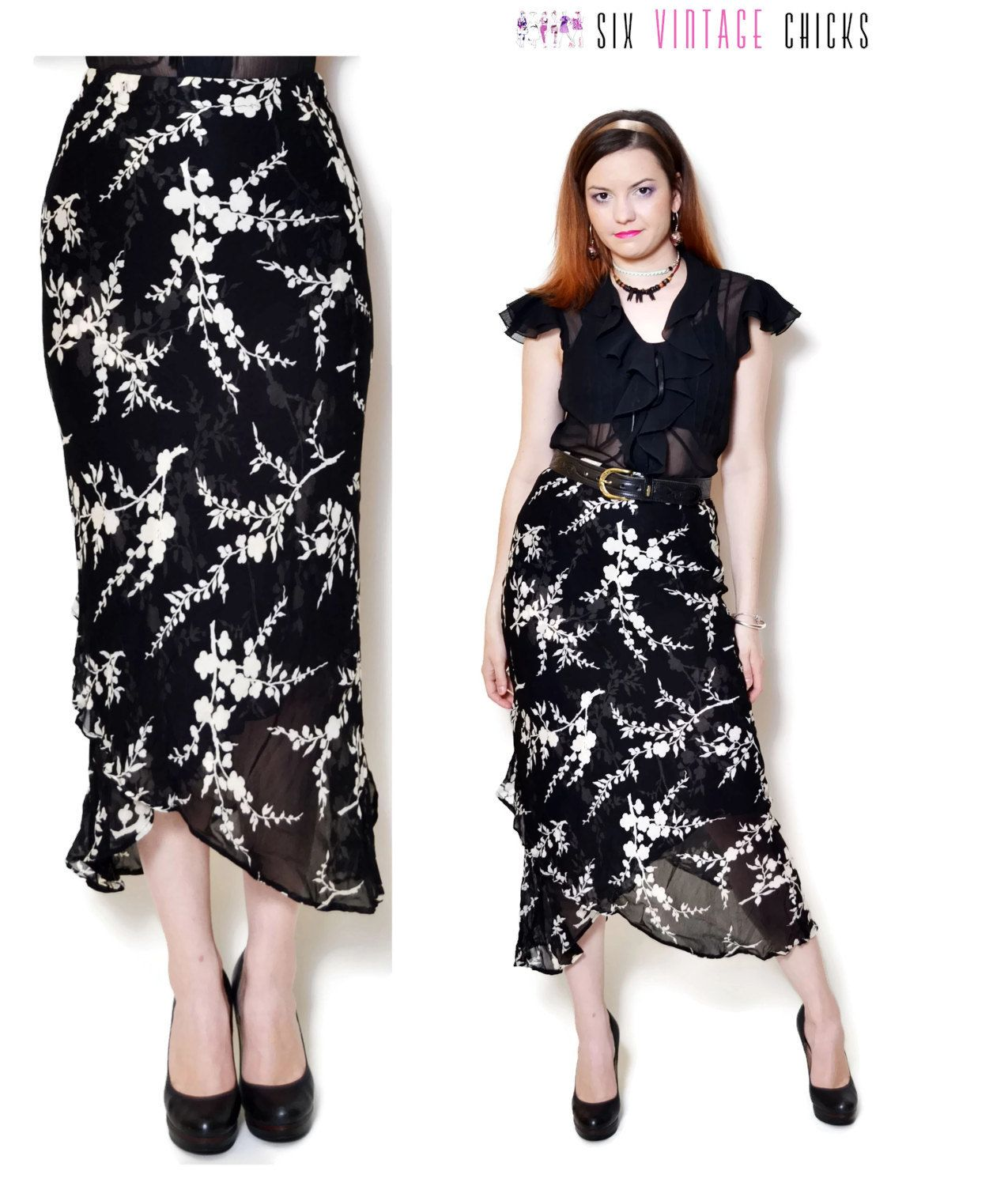 Black White Skirt Floral Flower Vintage Chiffon Woman Sheer Ladies