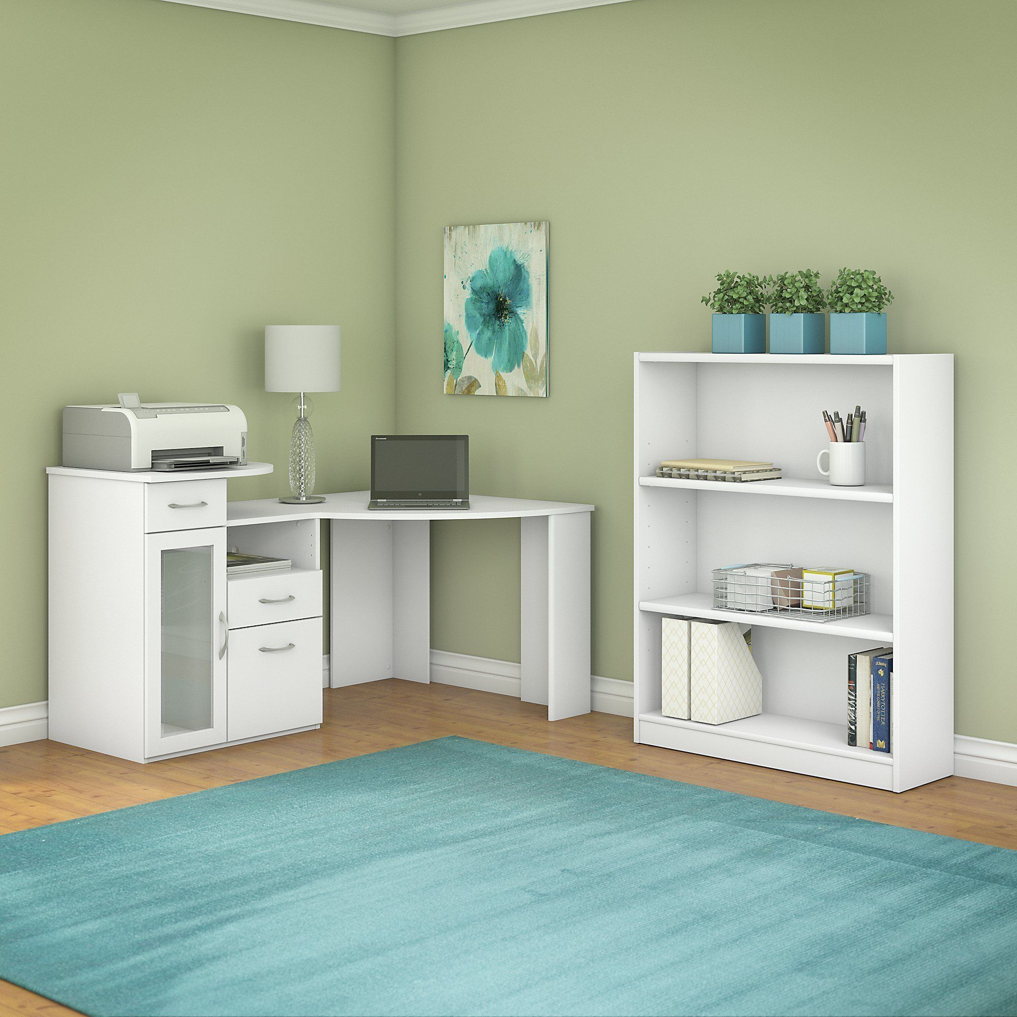 Bush Furniture Vantage Corner Desk And Bookcase Set