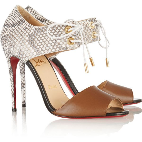 Christian Louboutin Mayerling 100 leather and python sandals ($1,345) ❤  liked on Polyvore featuring