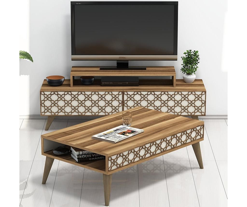 City Walnut Cream TV and coffee table set