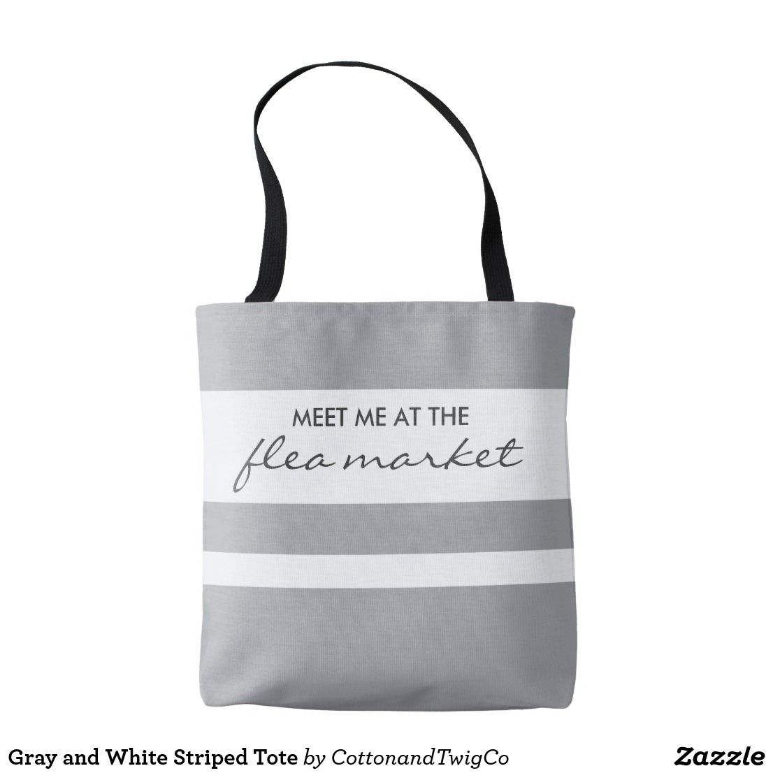Sentimental Wedding Gift Ideas: Gray And White Striped Tote