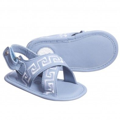 Young Versace Baby Boys Blue Leather Sandals at ...