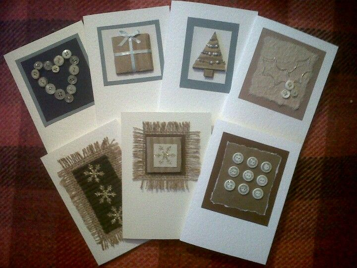 Handmade Christmas cards - buttons, wire, beads, card, hessian, ribbon etc
