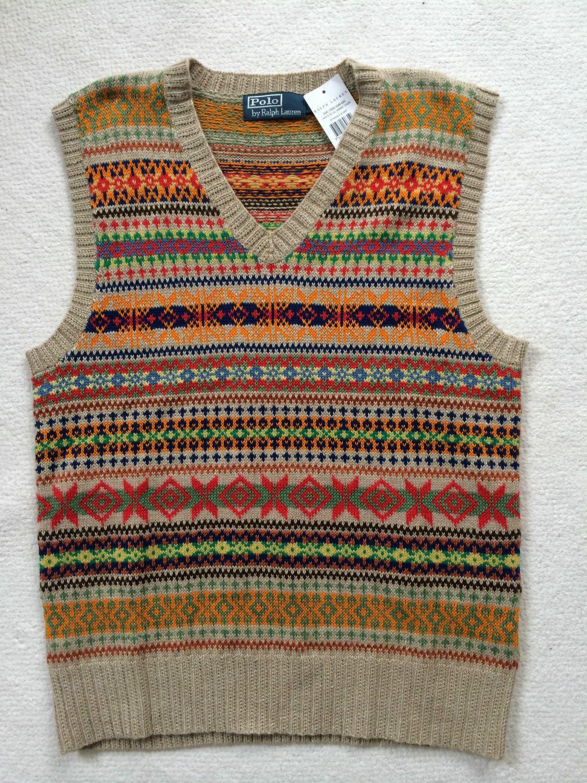 2ee576b7bde7b RALPH LAUREN Men s (M) Sleeveless Fairisle Silk Cashmere blend Jumper Tank  Top in Clothes