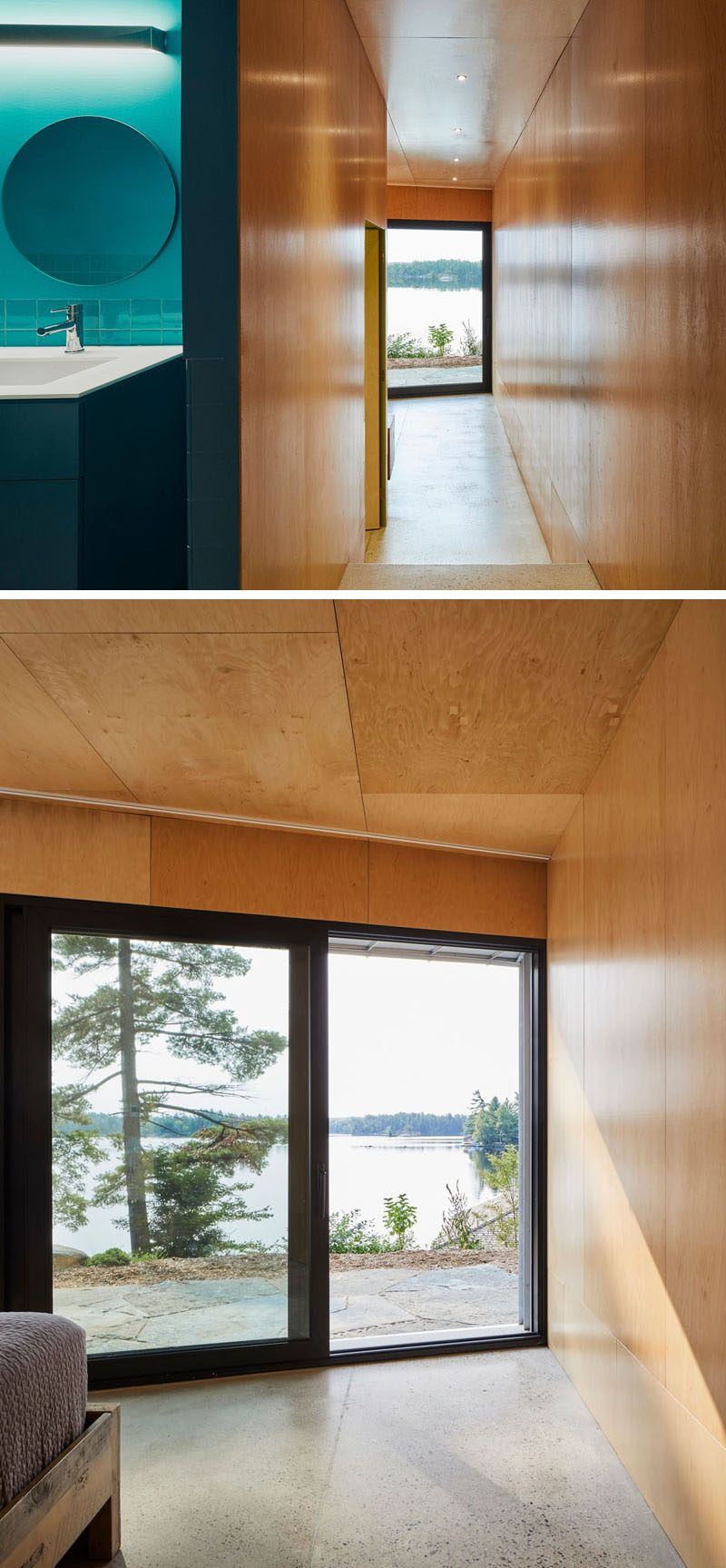In this modern house theres a turquoise bathroom and a wood lined bedroom with lake views bluebathroom woodinterior