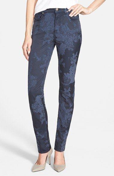 Jen7 Floral Jacquard Skinny Pants
