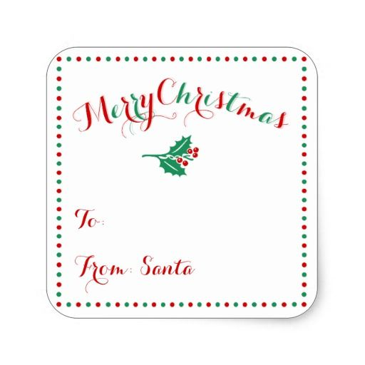 Personalized White Square Christmas Gift Tags Square Sticker
