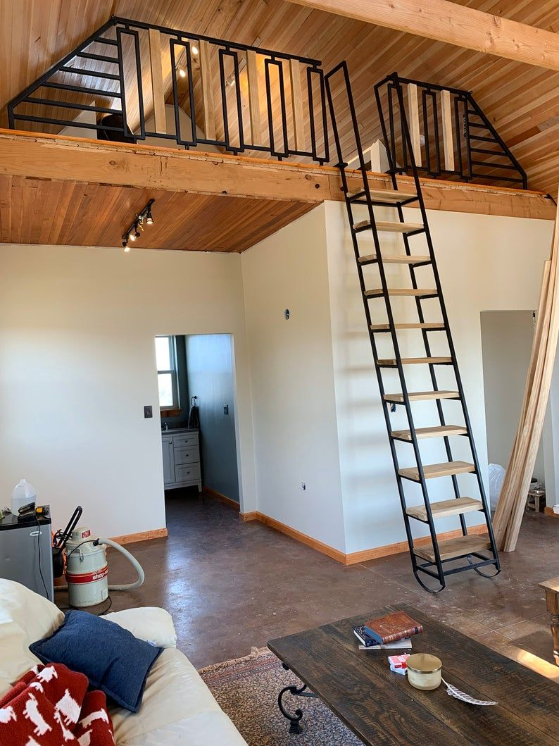 9 Ft Loft Ladder Librarian In 2020 Loft Ladder Loft Railing Cabin Loft