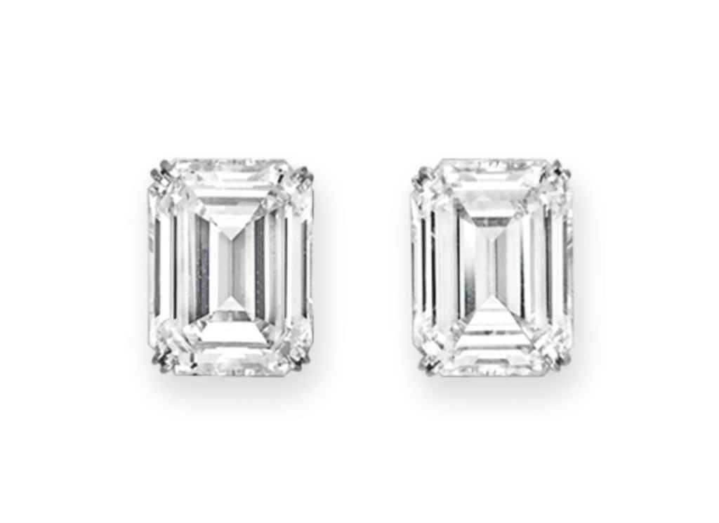 A Pair Of Rectangular Cut Diamond Earrings Christiesjewels