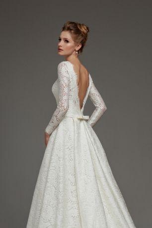 1522e3858f8 Роскошное кружевное платье А-силуэта с длинным рукавом и открытой спиной