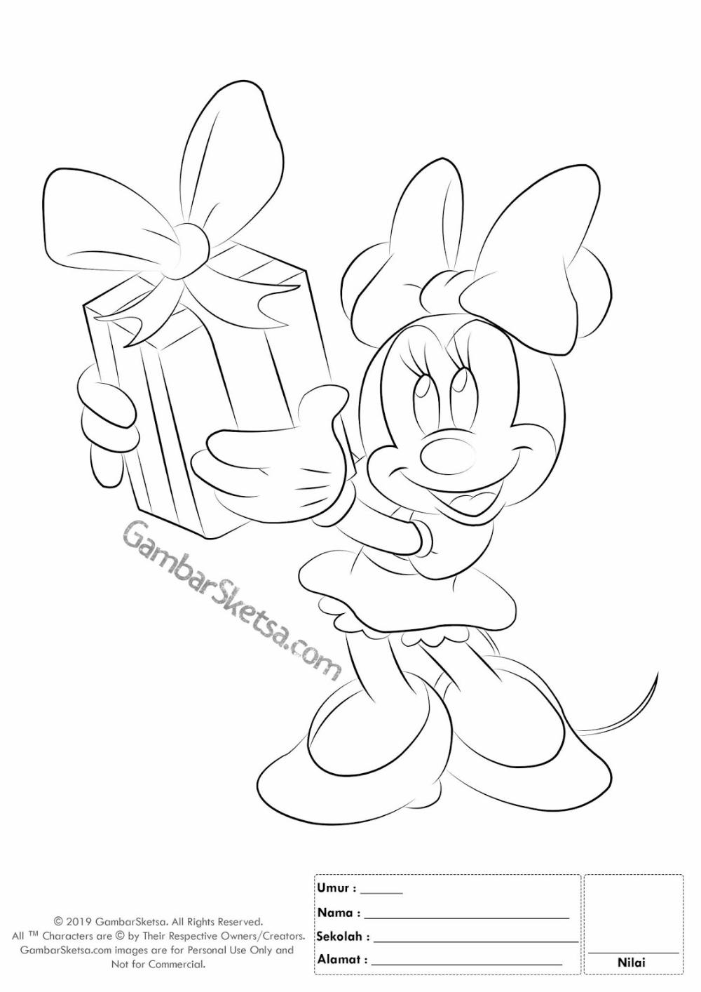 Gambar Mewarnai Minnie Mouse Dengan Gambar