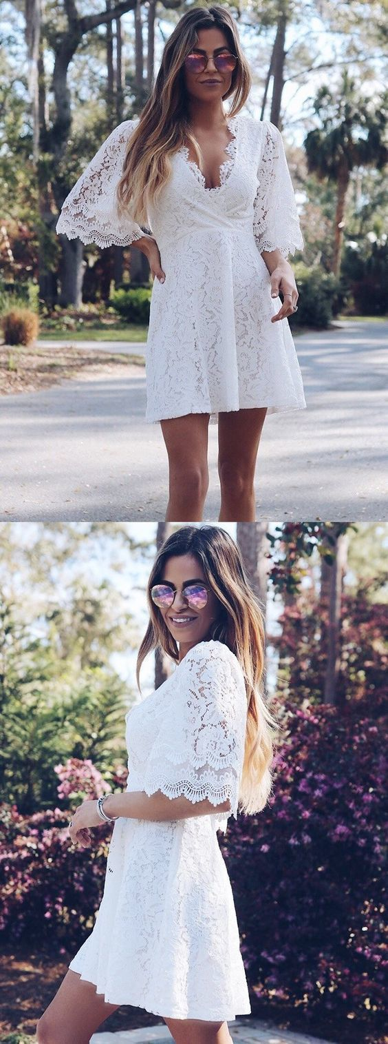 ALine Scoop Short White Lace Homecoming Dress with Half Sleeves in