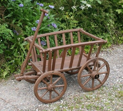 Vintage wooden dog cart wagon antique goats favorite for Things to do with old wagon wheels