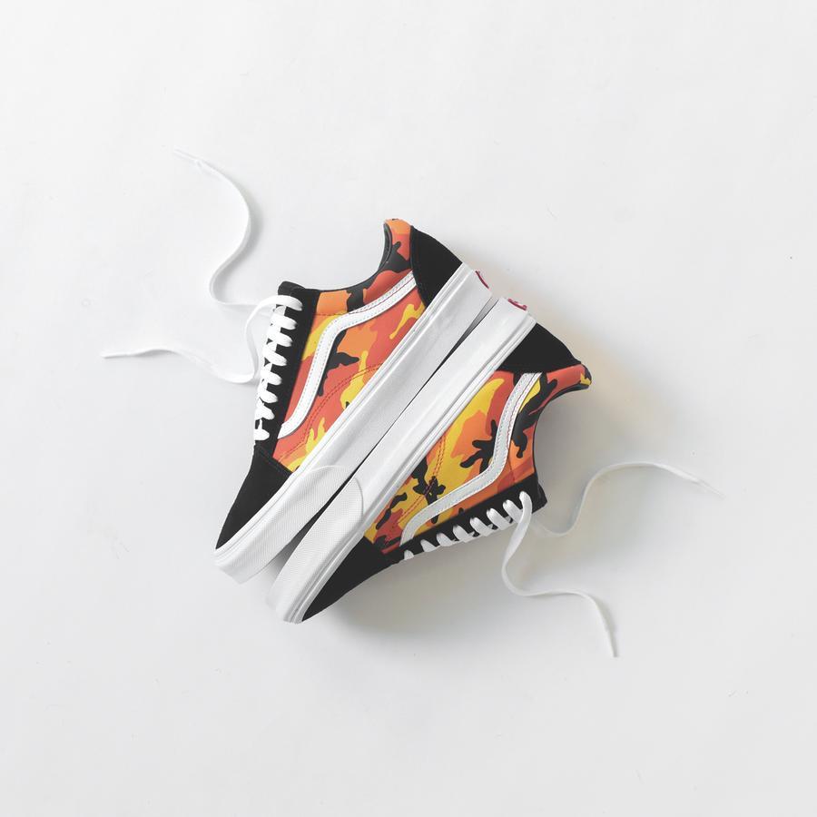 Vans Vans UA Old Skool ((Pop Camo) BlackSpicy OrangeTrue White) Shoes from Zappos   ShapeShop