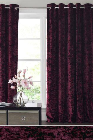 Plum Crushed Velvet Eyelet Curtains