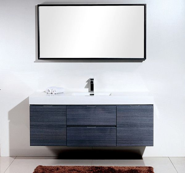 Bliss High Gloss Grey Oak Wall Mount Modern Bathroom Vanity - Modern bathroom store