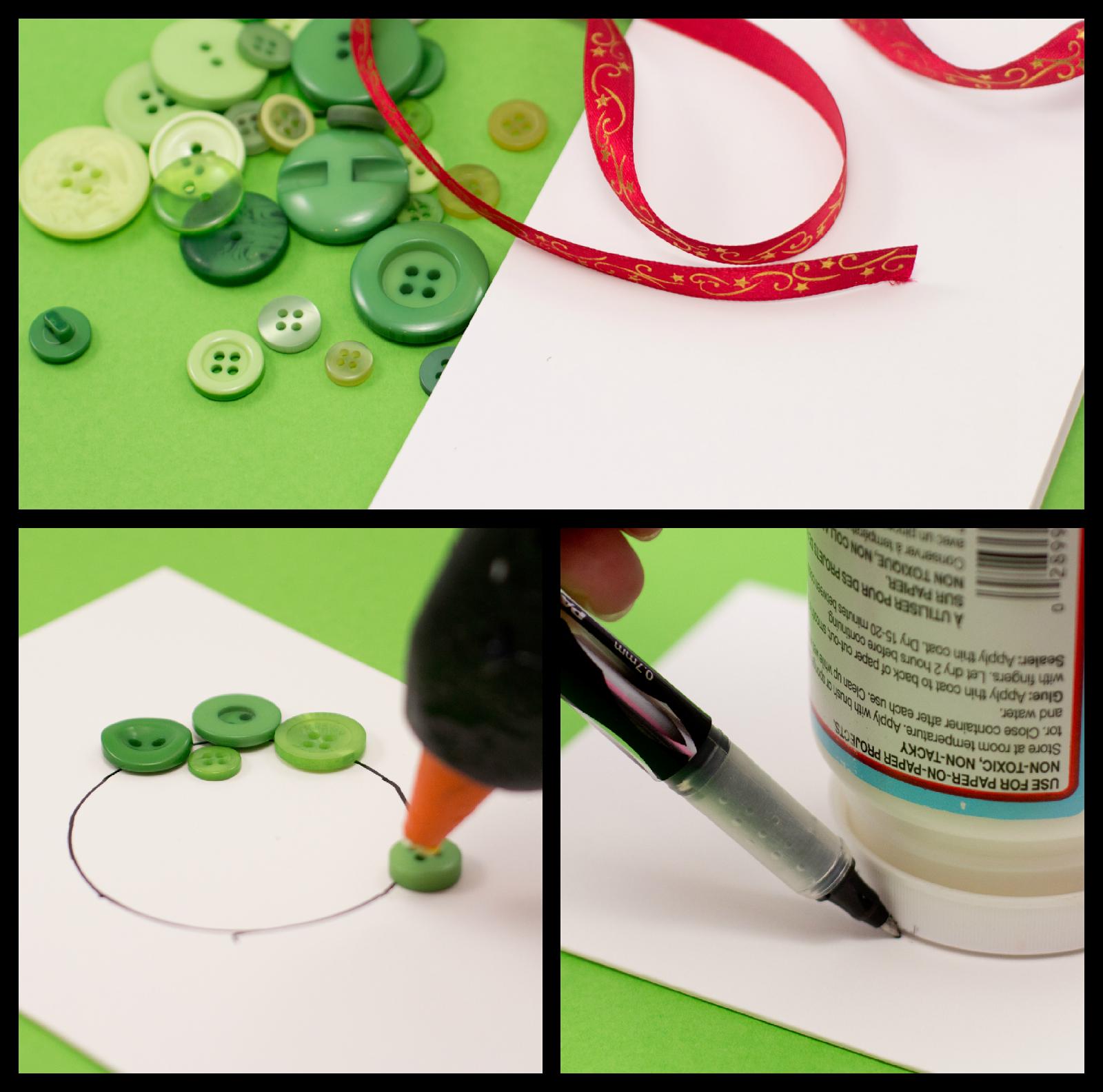 Easy DIY Button Christmas Card via Hopeful Honey