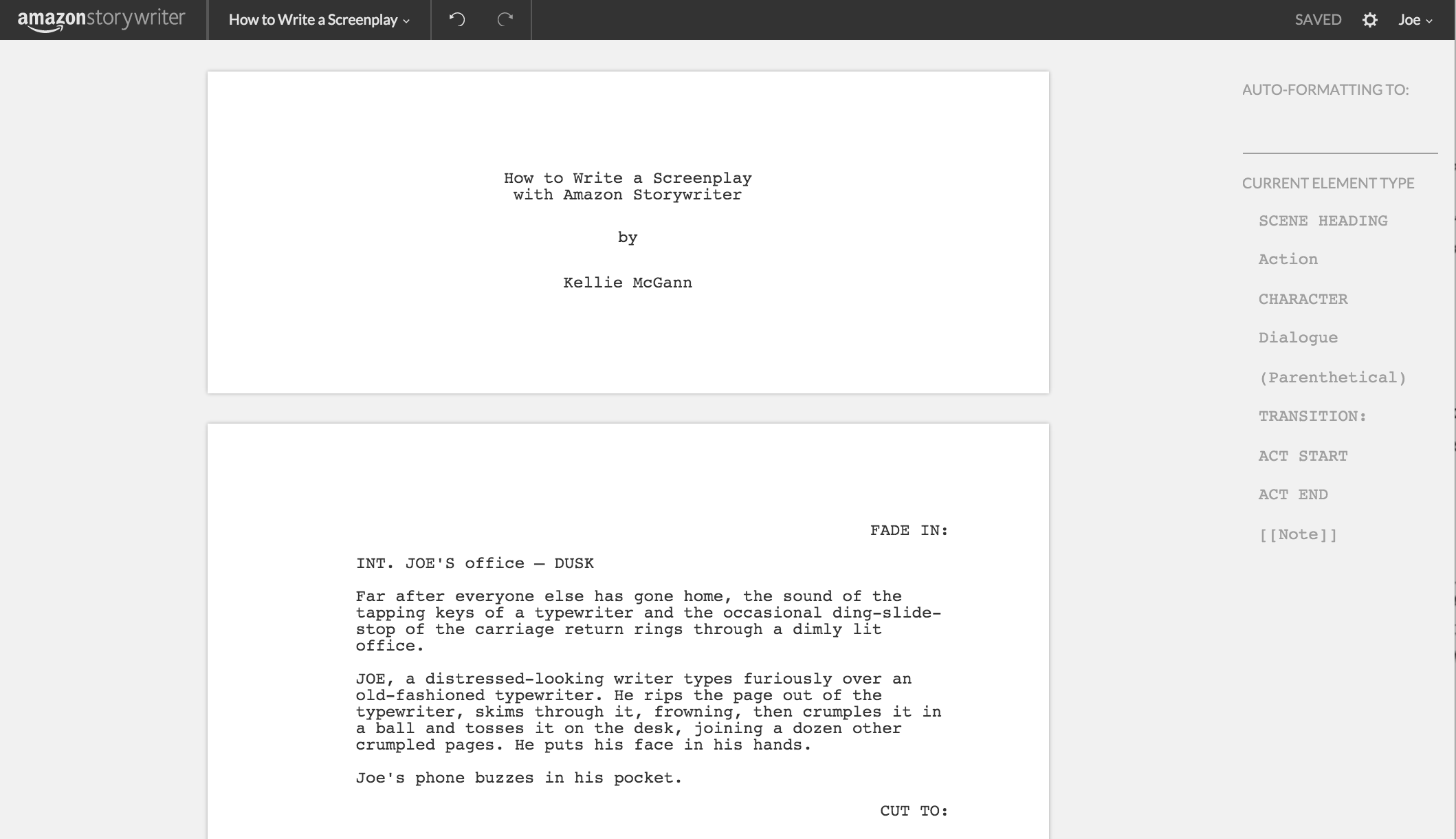 How To Write A Screenplay Using Amazon Storywriter With