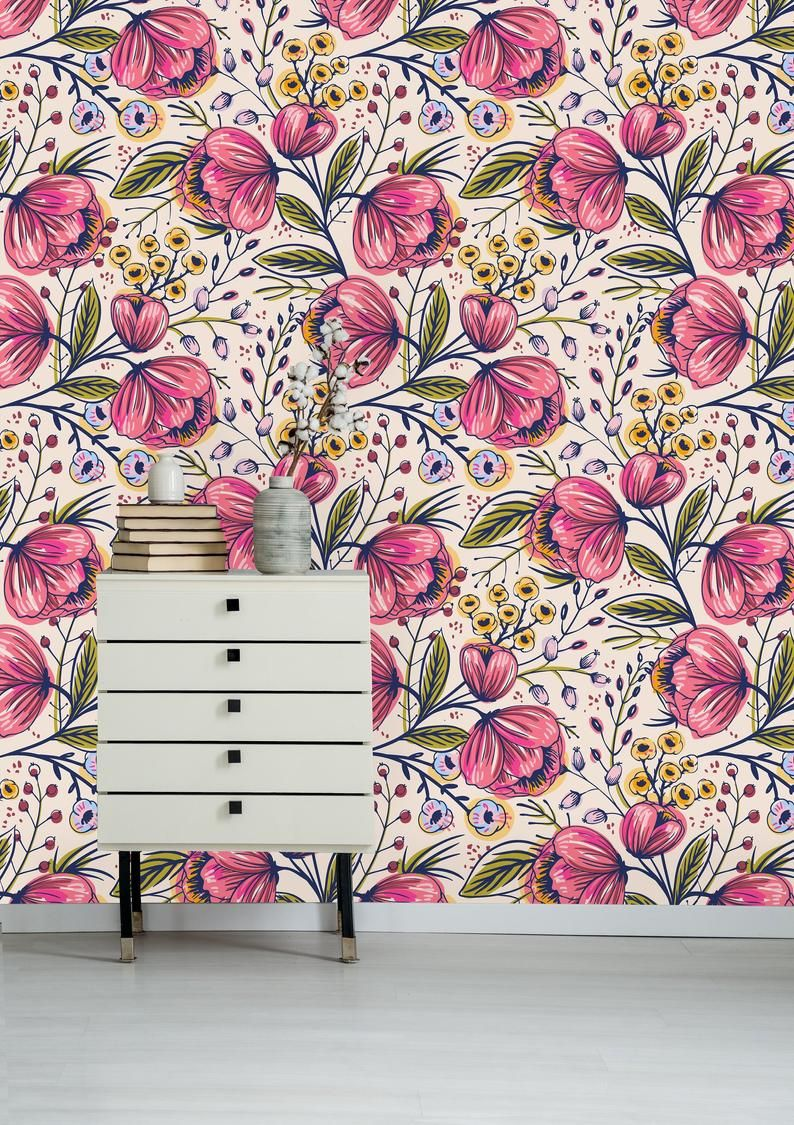 Beautiful Poppy Flowers Removable Wallpaper Peel And Stick Etsy Wall Wallpaper Removable Wallpaper Self Adhesive Wallpaper
